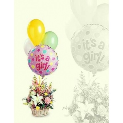 AN41 Girl Balloons and Flowers