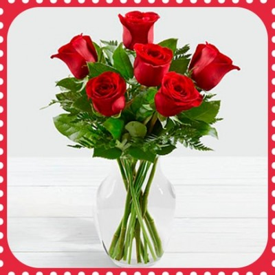 FR06 Red Roses with vase