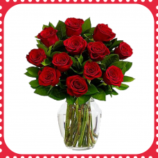 FR12 12 Red Roses with vase